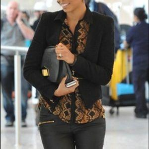 Zara Basic Snakeskin Print Black Brown Blouse